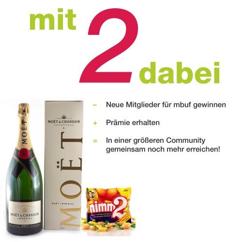 mbuf Promotion Mit zwei dabei Nimm 2 + Moet et Chandon + Text
